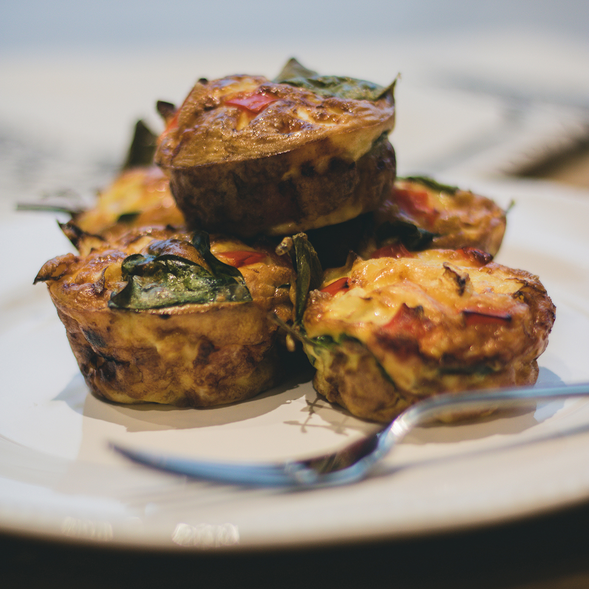 Egg veggie muffins on a plate