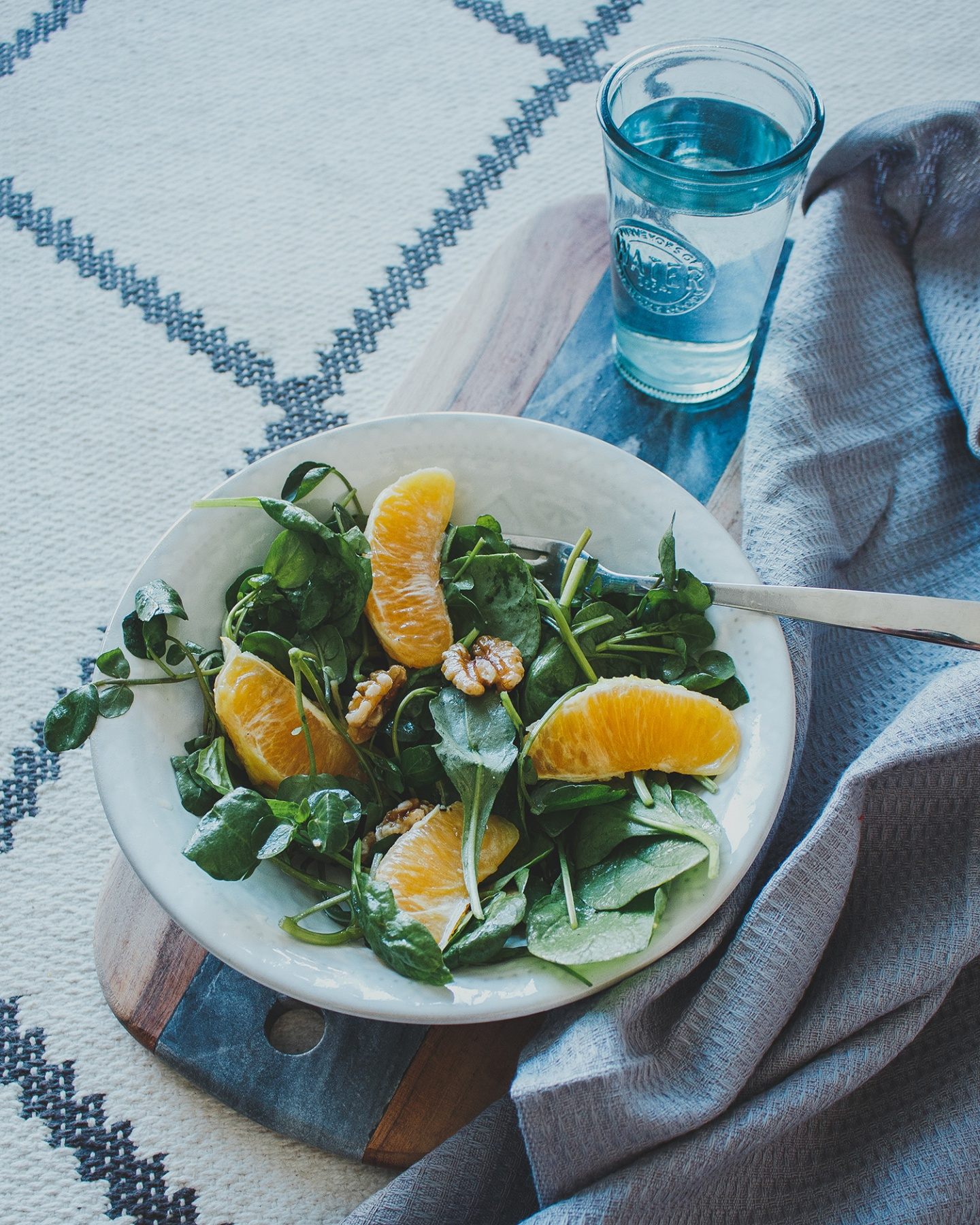 orange, spinach and watercress salad