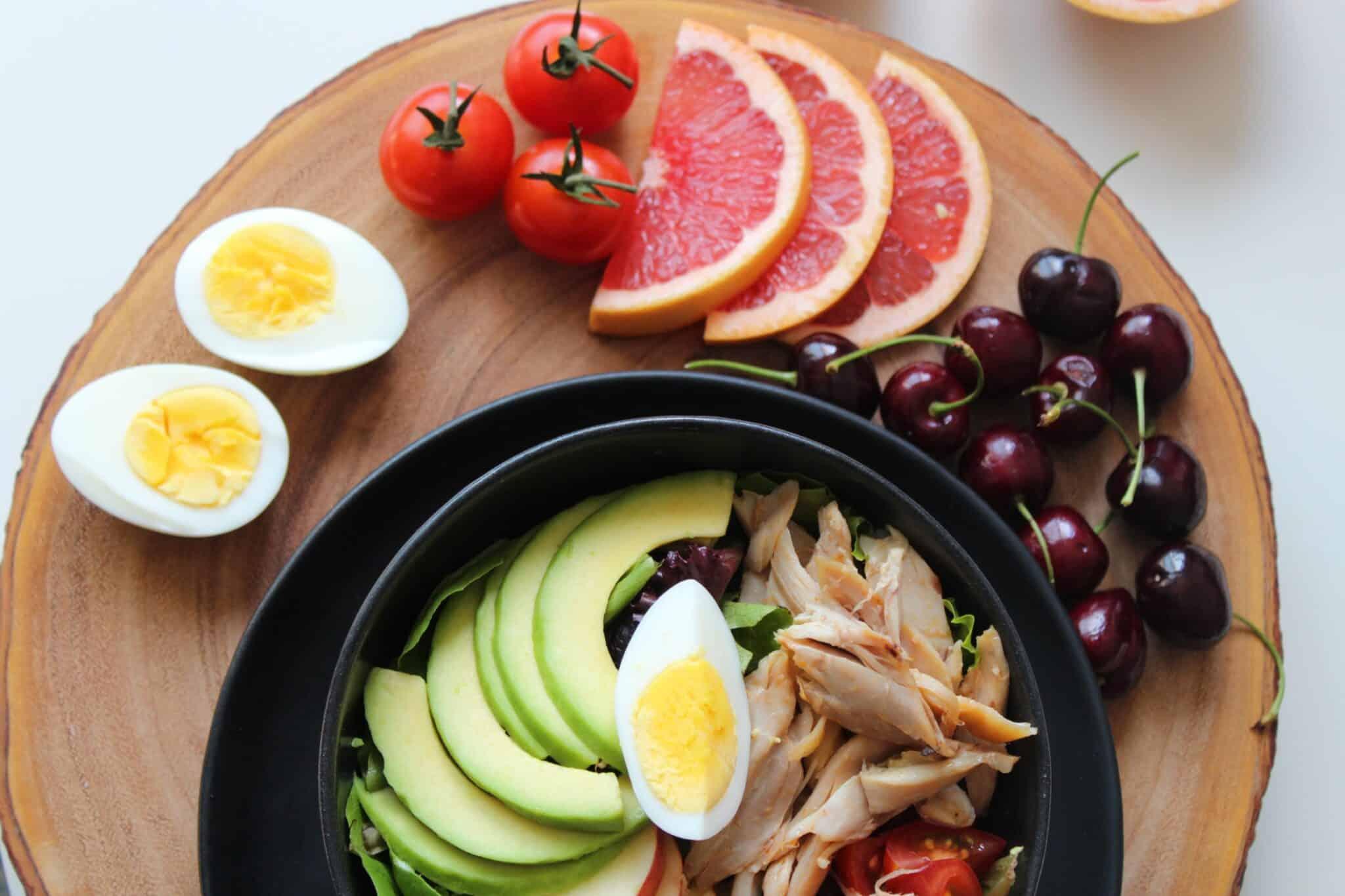 Wooden board of healthy food
