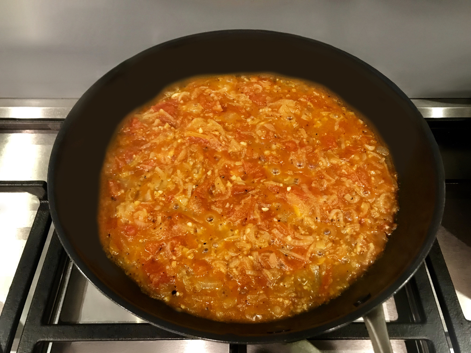 SugarDoctor Recipe tomato sauce in a frying pan