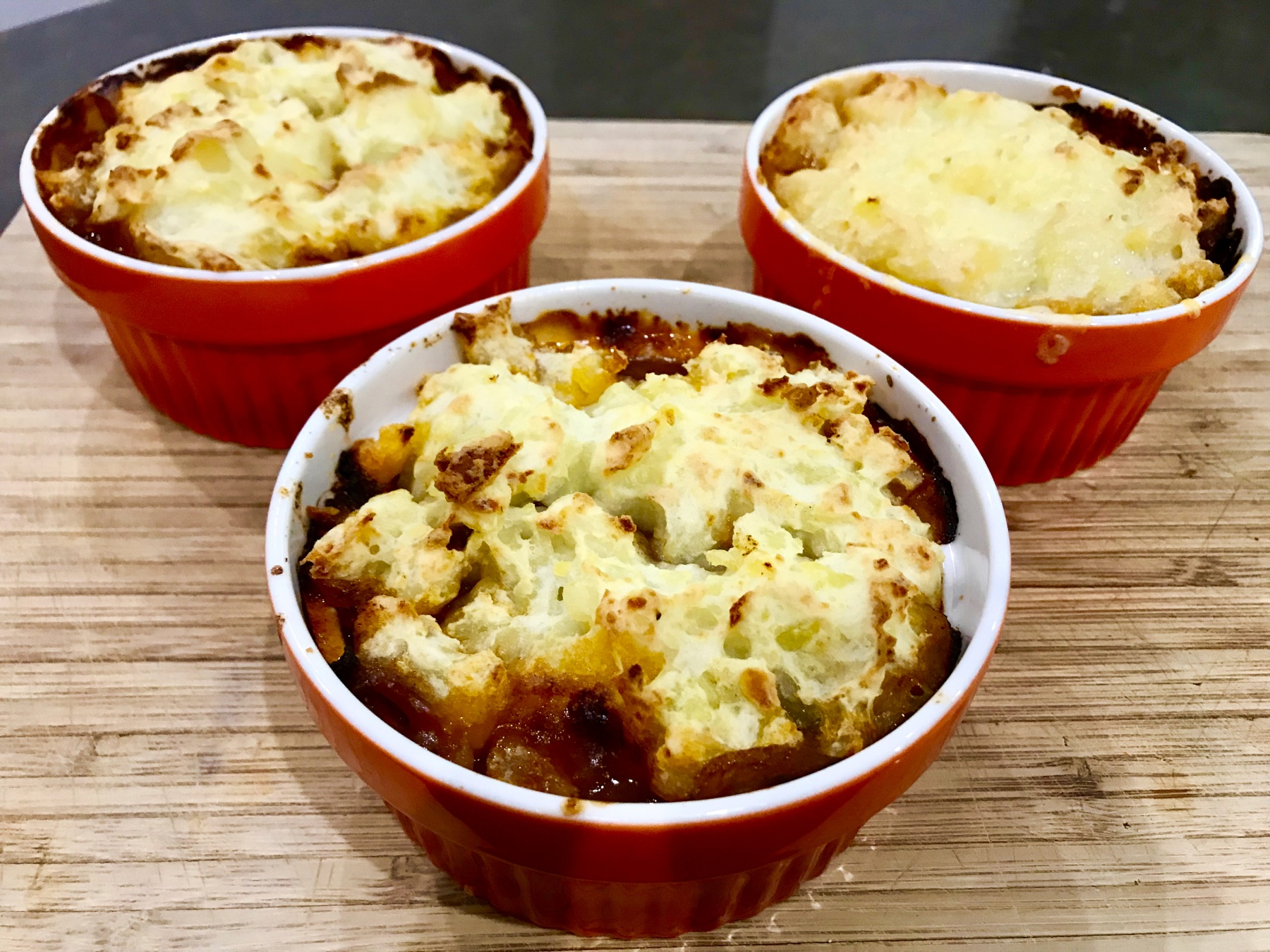 3 miniature cottage pies